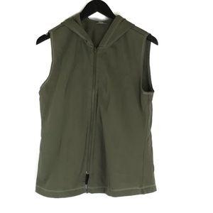 J Jill Green Sleeveless Hoodie Vest